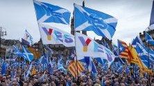 Демонстрация за независимост в Глазгоу, Шотландия. Хиляди привърженици на независимостта настояха за втори референдум за отделяне от Великобритания.