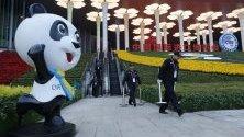 Подготовка преди отварянето на вратите на China International Import Expo в Шанхай.