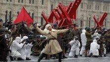 Руски войници с исторически униформи по време на репетиция за 78-ия парад за Битката при Москва през 1941 г. по време на Октомврийската революция, който ще се състои  на 7 ноември.