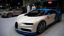 Bugatti Divo изложено по време на Международния автосалон в Дубай, ОАЕ.