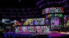 Фаруко, Алиша Кийс, Педро Капо и Мигел с изпълнение по време на връчването на годишните Латино Грами в Лас Вегас, САЩ.