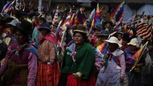 Боливийци участват в демонстрация в Ла Пас в подкрепа на напусналия страната бивш президент Ево Моралес.