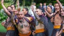 Маорски воини посрещат с традиционна церемония принц Чарлз и Камила в правителствената сграда в Оукланд, Нова Зеландия.