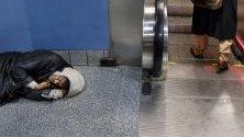 Бездомник спи на пода в метрото в Ню Йорк. Управата на Нюарк съди тази на Ню Йорк, че незаконно мести бездомници в неподходящи жилища в Нюарк. Около 79 000 души живеят в приюти или по улиците на Ню Йорк.