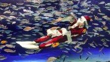 Водолаз в костюм на Дядо Коледа забавлява посетителите на аквариума Sunshine Aquarium в Токио, Япония.