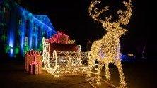 Инсталация във формата на шейната на Дядо Коледа с елена Рудолф свети пред двореца Фридрихсфелде в Берлин, Германия.