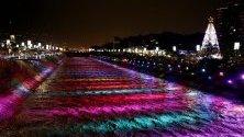 Традиционни коледни светлини се отразяват в река Меделин, Меделин, Колумбия.