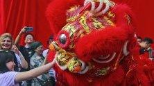 Танцьори в традиционни костюми на лъвове по време на празненство в търговски център в Куала Лумпур, Малайзия, по повод настъпващата Китайска нова година.