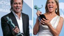 Дженифър Анистън и Брад Пит с награди от 26-те годишни награди на Гилдията на филмовите актьори за сериала `The Morning Show`.