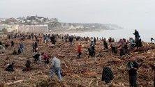 Доброволци почистват брега на Барселона, Испания, след преминаването на бурята Глория, която погуби най-малко 13 души, а 10 все още се издирват.