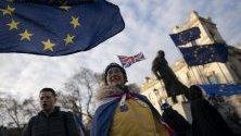 Протестиращи срещу Брекзит пред парламента в Лондон. Страната напуска ЕС на 31 януари.