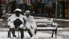 Петко и Пенчо Славейкови покрити в сняг в София