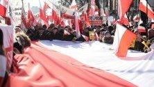 Протест в подкрепа на реформата на съдебната система във Варшава, Полша.