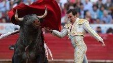 Мексиканският тореадор ХОсе Маурисио в битка с бика Коко в Мексико сити.