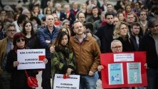 Протест срещу евтаназията в Порто, Португалия. Местният парламент предстои да обсъди закон за легализиране на евтаназията.