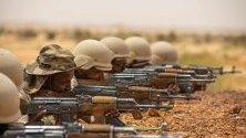 Мавритански войници участват във военното учение Flintlock 2020 край Каеди, Мавритания, което се извършва под командването на американските сили.